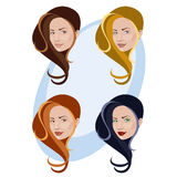 Mujeres, peinado y color Libre Illustration