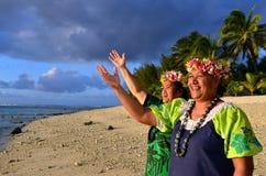 Mujeres polinesias maduras de la isla del Pacífico Foto de archivo libre de regalías