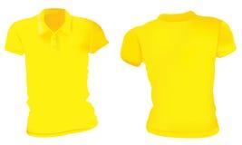 Mujeres Polo Shirts Template amarillo Imagen de archivo