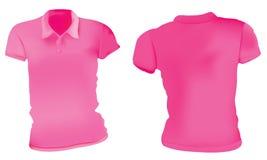 Mujeres Polo Shirts Template rosado stock de ilustración