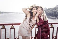 Mujeres positivas encantadas que están en un humor maravilloso imagen de archivo libre de regalías