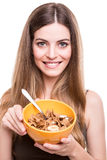 Mujeres que comen los cereales Imagen de archivo