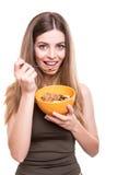 Mujeres que comen los cereales imagenes de archivo