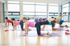 Mujeres que estiran en las esteras en la clase de la yoga Imagen de archivo libre de regalías