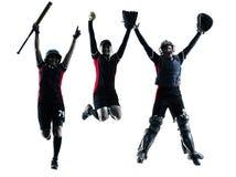 Mujeres que juegan la silueta de los jugadores de softball aislada Foto de archivo libre de regalías