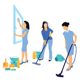 Mujeres que limpian la casa libre illustration