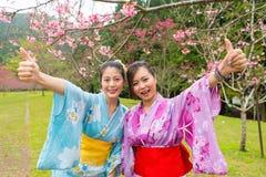 Mujeres que llevan la ropa tradicional del kimono Imagen de archivo libre de regalías