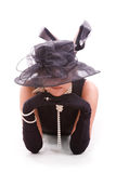 Mujeres que miran del sombrero Imagenes de archivo