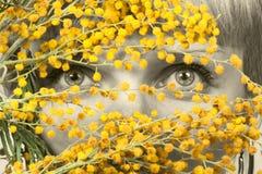 Mujeres que miran a través de las flores fotografía de archivo libre de regalías
