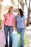 Mujeres que recorren junto compras que llevan Imagen de archivo libre de regalías