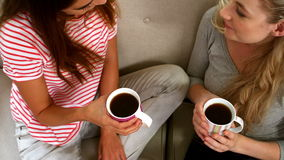 Mujeres que se sientan en el sofá almacen de metraje de vídeo
