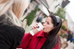 Mujeres que tienen descanso para tomar café junto después de hacer compras Imagen de archivo libre de regalías