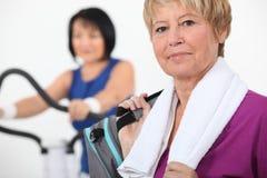 Mujeres que usan el equipo del gimnasio Imagenes de archivo