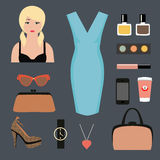 Mujeres ropa y accesorio Imágenes de archivo libres de regalías