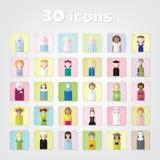 Mujeres Sistema de color de iconos de la gente 30 iconos Ilustración del vector Imágenes de archivo libres de regalías