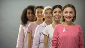 Mujeres sonrientes en camisas rosadas con las cintas del cáncer de pecho que se colocan en la fila, ayuda metrajes