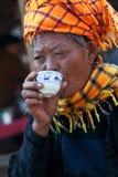 Mujeres tribales PA-o en el Estado de Shan, Myanmar Fotografía de archivo