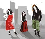 Mujeres urbanas del vector Imagen de archivo libre de regalías