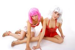 Mujeres Wigged atractivas Imagen de archivo libre de regalías
