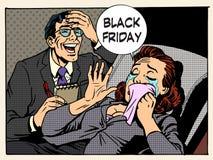Mujeres y hombres de Black Friday Fotos de archivo libres de regalías