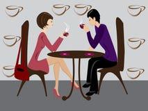 Mujeres y hombres en café stock de ilustración