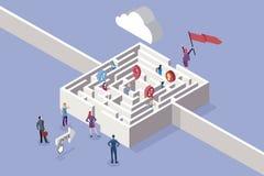 Mujeres y Maze Concept de negocios ilustración del vector