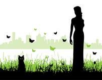 Mujeres y un gatito Stock de ilustración