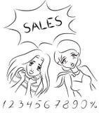 Mujeres y ventas stock de ilustración