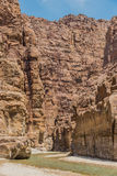 Mujib Jordania del lecho de un río seco del barranco Fotografía de archivo