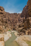 Mujib Jordanie d'oued de canyon Photographie stock