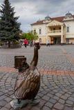 MUKACHEVE, УКРАИНА - 25-ОЕ АПРЕЛЯ 2017: Памятник фотографа гусыни около здание муниципалитета Стоковое фото RF