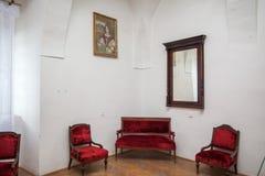 Mukacheve - Ukraina, JULI 26, 2009: Inre av århundradet för Palanok slott XI Arkivbilder