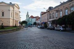 Mukacheve - Ukraine, am 26. Juli 2009: Mitte der Stadt Lizenzfreie Stockfotos