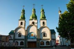 Mukacheve, Ukraine - 8. Mai 2015: Kathedrale von Pochaev-` s Ikone der Mutter des Gottes stockbilder