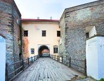 Mukachevo castle bridge gate view (Ukraine) Stock Photo