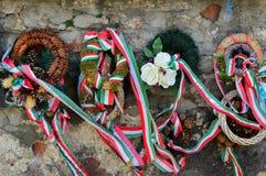 MUKACHEVO, UCRAINA - 23 agosto 2017, il nastro con i colori nazionali dell'Ungheria ha legato fino al fiore il tributo che sta vi Fotografie Stock Libere da Diritti