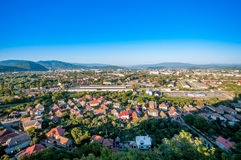 Mukachevo, Ukraine. Aerial view of Mukachevo, Ukraine royalty free stock image