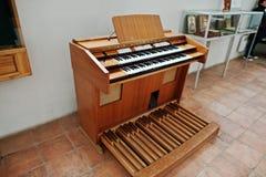 MUKACHEVO,UKRAINE - APRIL 11,2016: Old Ahlborn piano & organ Stock Image