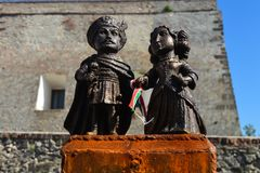 Mini-statue of Countess Ilona Zrini and Count Imre Tekeli in castle Palanok - Mukachevo, Ukraine o. MUKACHEVO, UKRAINE - AUGUST 14: Mini-statue of Countess Ilona stock image