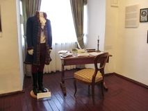 Restored of Ferenc Kazinczy clothing of 1800 in the museum of the Castle Palanok stock image