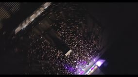 MUKACHEVO, UKRAINE - NOVEMBER 01, 2017: Flex family day. Aerial shot concert of Flex company in the city of Mukachevo. MUKACHEVO, UKRAINE - NOVEMBER 01, 2017 stock video