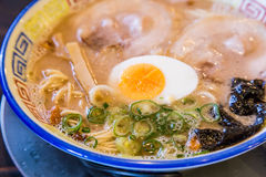 Mukashi chashu ramen with boiled egg. Stock Images