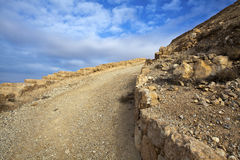 Mukawir - path up the mountain to King Herod castle - Jordan Royalty Free Stock Images