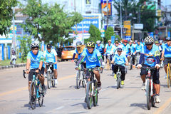 MUKDAHAN,THAILAND ,AUG 16-2015 : Bike for mom ,People ride to starting point for Mukdahan Royalty Free Stock Image