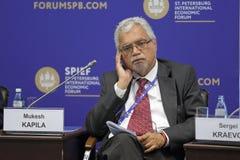 Mukesh Kapila. SAINT-PETERSBURG, RUSSIA - JUN 16, 2016: St. Petersburg International Economic Forum SPIEF-2016. Mukesh Kapila, Professor of Global Health and stock image