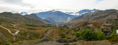 Muktinath landscape panorama after rain, Nepal Royalty Free Stock Photo
