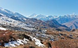 Muktinathdorp in het Himalayagebergte/Nepal royalty-vrije stock afbeelding