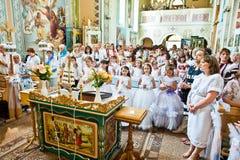 Mukyluntsi, Украина - 26-ое июня 2016: Первое святое причастие Стоковая Фотография