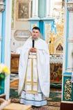 Mukyluntsi, Ukraina - 26 Czerwiec, 2016: Pierwszy święty communion Prie Zdjęcia Royalty Free