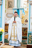 Mukyluntsi , Ukraine - 26 june, 2016: First holy communion. Prie Royalty Free Stock Photos